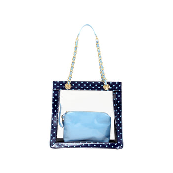 Andrea Clear Tailgate Tote - Navy Blue and Light Blue