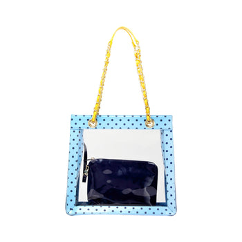 Andrea Clear Tailgate Tote - Light Blue, Navy Blue and  Yellow Gold