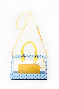 Moniqua Clear Satchel - Light Blue, Navy Blue and  Yellow Gold
