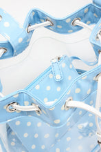 SCORE! Clear Sarah Jean Designer Stadium Shoulder Crossbody Purse Polka Dot Boho Bucket Game Day Bag Tote - Light Blue and White