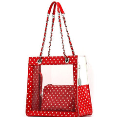 Andrea Clear Tailgate Tote - Red and White