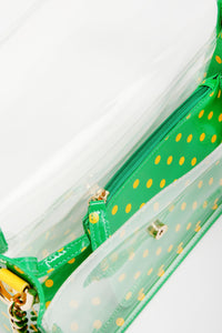SCORE! Chrissy Small Designer Clear Crossbody Bag - Fern Green and Yellow Gold