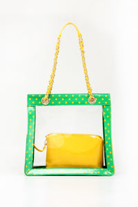 Andrea Clear Tailgate Tote - Fern Green and Yellow Gold