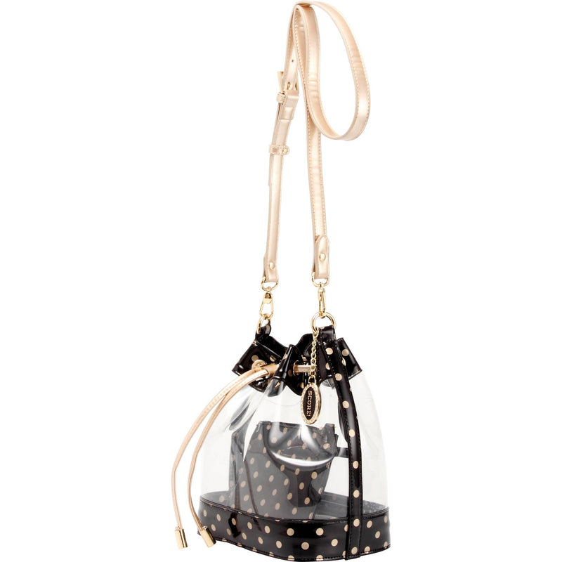 Sarah Jean Clear Bucket Handbag - Black and Metallic Gold