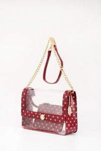 SCORE! Chrissy Medium Designer Clear Cross-body Bag - Maroon and Gold