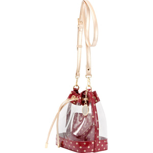 Sarah Jean Clear Bucket Handbag - Maroon and Metallic Gold
