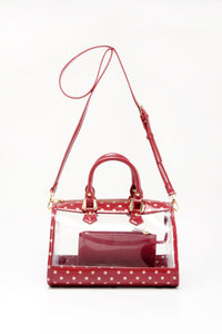 SCORE! Moniqua Clear Satchel - Maroon and Gold