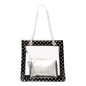 Andrea Clear Tailgate Tote - Black and Silver
