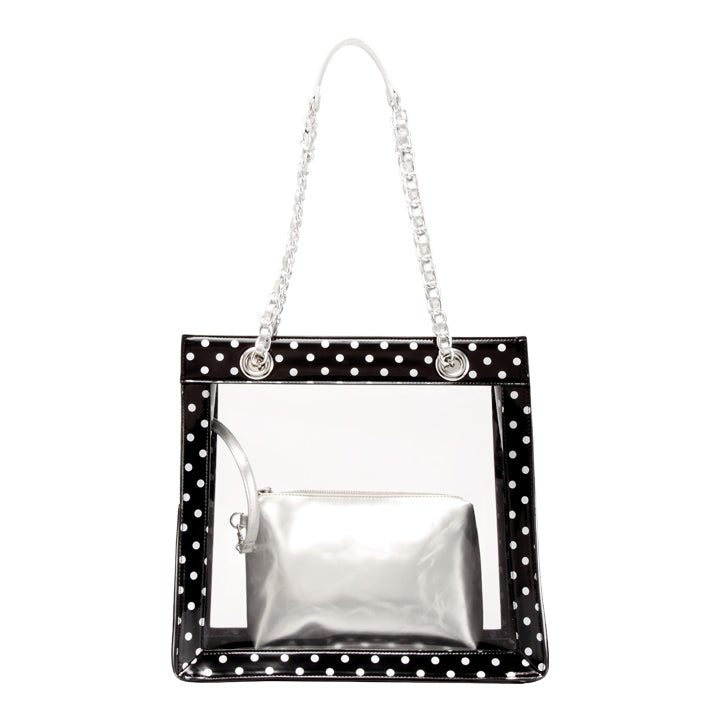 SCORE! Andrea Large Clear Designer Tote for School, Work, Travel - Black and Silver