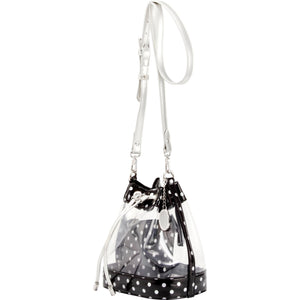 SCORE! Clear Sarah Jean Designer Crossbody Polka Dot Boho Bucket Bag- Black and Silver