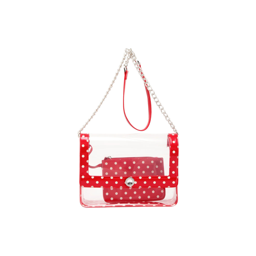 SCORE! Chrissy Medium Designer Clear Cross-body Bag -Racing Red and White
