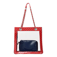 SCORE! Andrea Large Clear Designer Tote for School, Work, Travel - Racing Red and Navy Blue