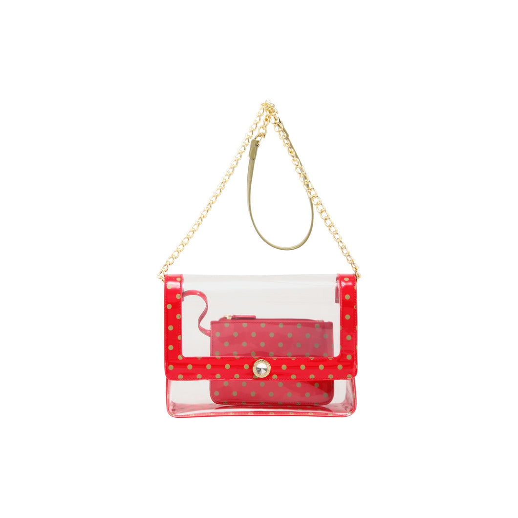 SCORE! Chrissy Medium Designer Clear Cross-body Bag - Red and Olive Green for Washington State University Cougars, Alpha Chi Omega, Alpha Sigma Alpha