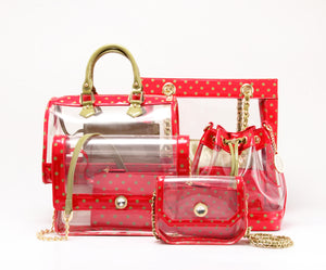 SCORE! Chrissy Medium Designer Clear Cross-body Bag - Red and Olive Green