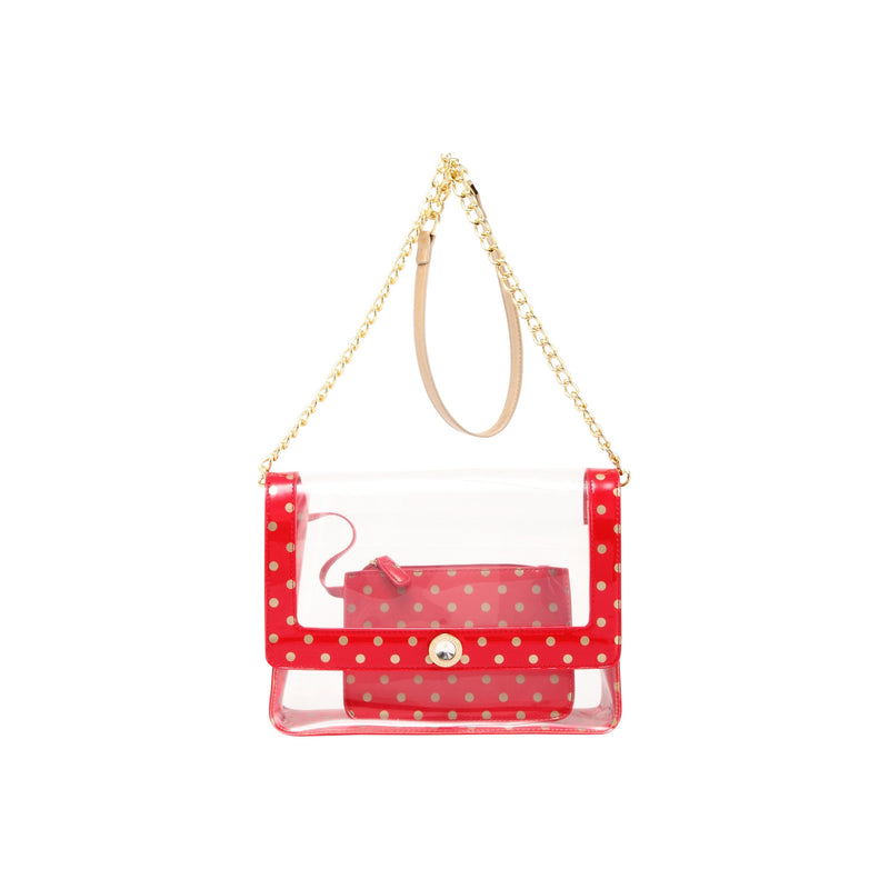 Chrissy Medium Clear Game Day Handbag - Racing Red and Metallic Gold