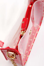 SCORE! Chrissy Medium Designer Clear Cross-body Bag -Red and Gold