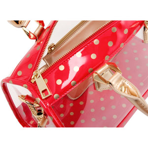 Moniqua Clear Satchel - Racing Red, White and Metallic Gold