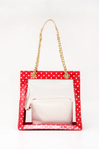 SCORE! Andrea Large Clear Designer Tote for School, Work, Travel - Racing Red, White and Gold