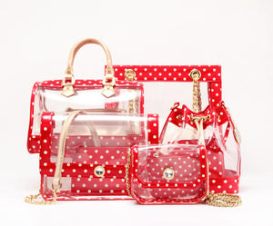 Chrissy Medium Clear Game Day Handbag - Red and Gold