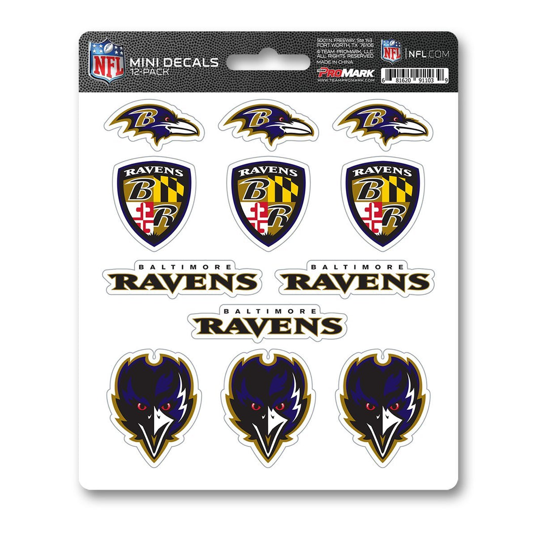 Baltimore Ravens NFL Mini Decal 12-pk