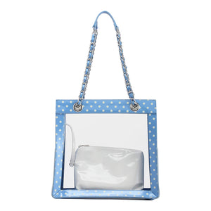 Andrea Clear Tailgate Tote - Light Blue and White