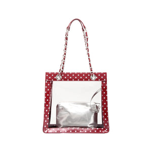 SCORE! Andrea Large Clear Designer Tote for School, Work, Travel - Maroon and Silver
