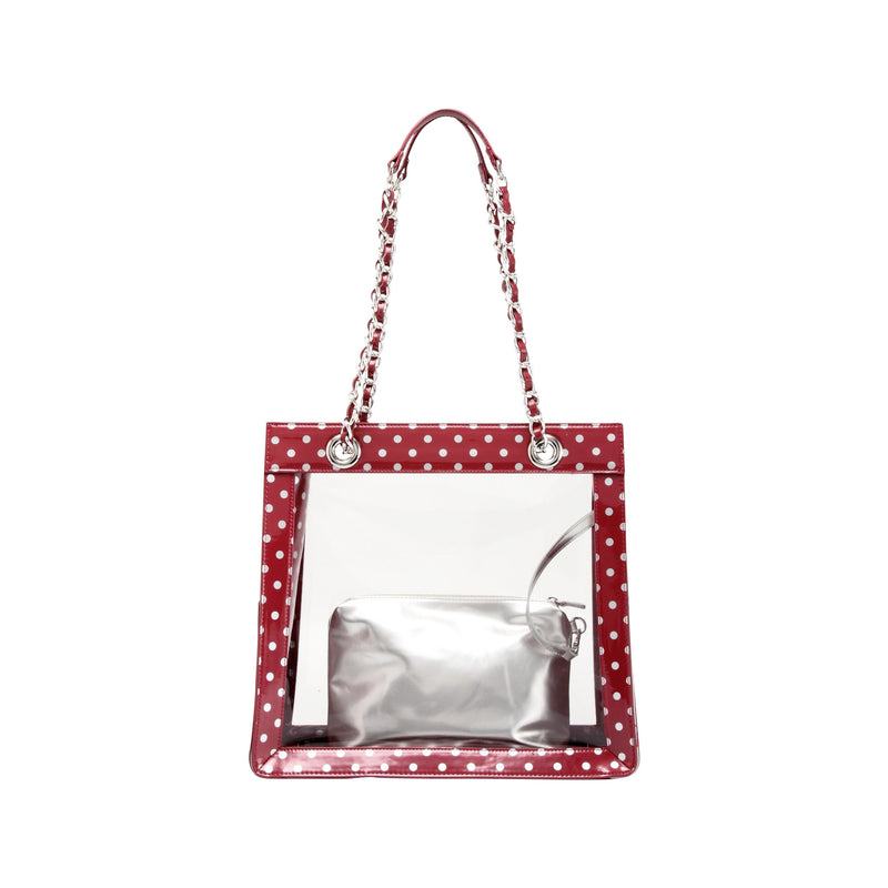 Andrea Clear Tailgate Tote - Maroon and Silver