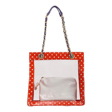 SCORE! Andrea Large Clear Designer Tote for School, Work, Travel - Orange, White and Royal Purple