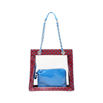 Andrea Clear Tailgate Tote - Maroon and French Blue