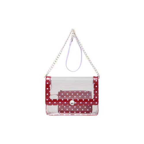 SCORE! Chrissy Medium Designer Clear Cross-body Bag -Maroon and Lavender