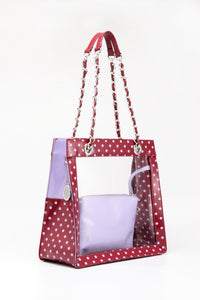 Andrea Clear Tailgate Tote - Maroon and Lavender