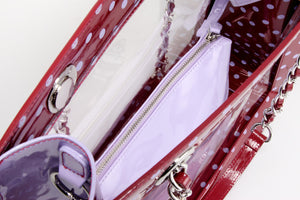 SCORE! Andrea Large Clear Designer Tote for School, Work, Travel - Maroon and Lavender