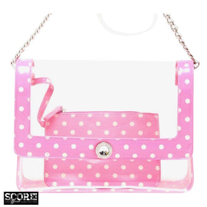 SCORE! Chrissy Medium Designer Clear Cross-body Bag - Aurora Pink and White