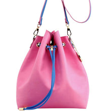 SCORE! Sarah Jean Crossbody Large BoHo Bucket Bag - Pink and Blue