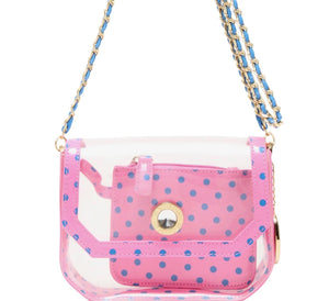 SCORE! Chrissy Small Designer Clear Cross-body Bag - Pink and Blue