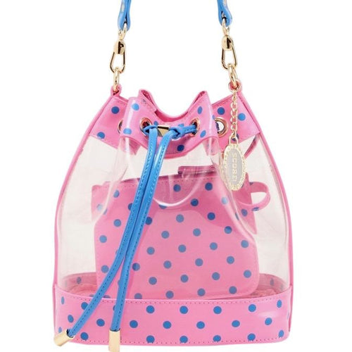 SCORE! Clear Sarah Jean Designer Crossbody Polka Dot Boho Bucket Bag-Pink and Blue