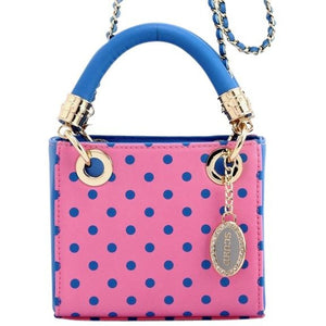 SCORE! Jacqui Classic Designer Stadium Approved Top Handle Satchel Polka Dot Detachable Chain Crossbody Square Game Day Bag Event Team Sorority Purse - Pink and Blue Delta Gamma