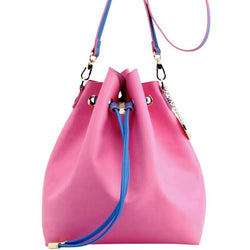 Sarah Jean Solid Bucket Handbag - Aurora Pink and French Blue
