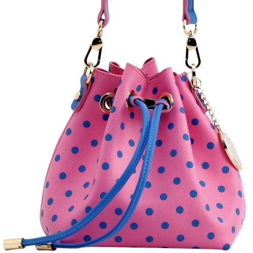 SCORE! Sarah Jean Designer Small Stadium Shoulder Crossbody Purse Polka Dot Boho Bucket Game Day Bag Tote - Pink and Blue Delta Gamma