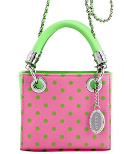 SCORE! Jacqui Classic Designer Stadium Approved Top Handle Satchel Polka Dot Detachable Chain Crossbody Square Game Day Bag Event Team Sorority Purse -Pink and Green AKA & DZ
