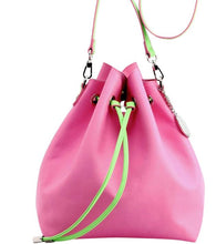 SCORE! Sarah Jean Crossbody Large BoHo Bucket Bag- Pink and Lime Green