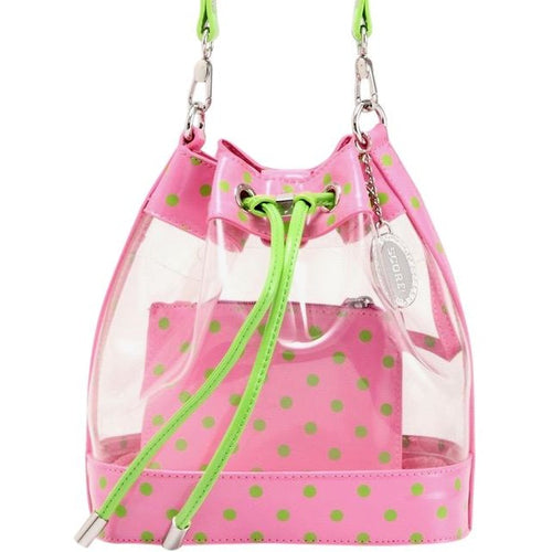 SCORE! Clear Sarah Jean Designer Stadium Shoulder Crossbody Purse Polka Dot Boho Bucket Game Day Bag Tote - Pink and Lime Green AKA & DZ
