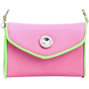 SCORE! Eva Classic Designer Stadium Approved Small Clutch Detachable Chain Crossbody Game Day Bag Event Team Sorority Purse - Pink and Lime Green AKA & DZ