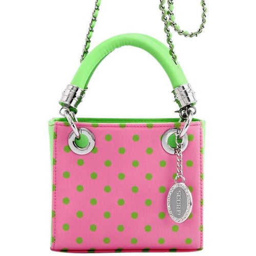 Jacqui Classic Satchel Polka Dot Crossbody Purse -Pink and Green AKA & DZ