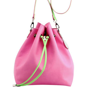 SCORE! Sarah Jean Designer Shoulder Crossbody Purse Solid Extra Large Boho Bucket Game Day Bag Tote - Pink and Lime Green AKA & DZ