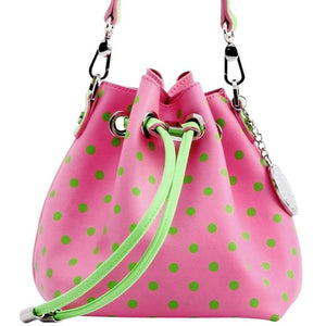 SCORE! Sarah Jean Designer Small Stadium Shoulder Crossbody Purse Polka Dot Boho Bucket Game Day Bag Tote - Pink and Green AKA DZ
