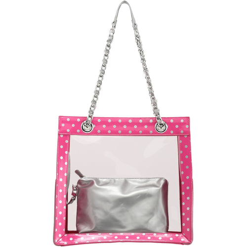 SCORE! Andrea Large Clear Designer Tote for School, Work, Travel - Pink and Silver