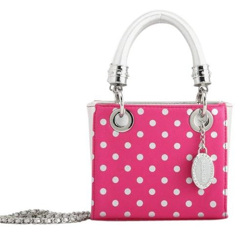 Jacqui Classic Satchel Polka Dot - Pink and Silver