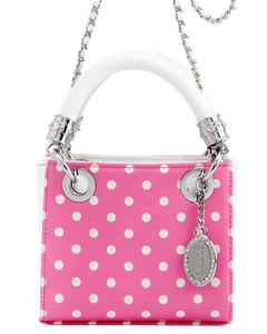 SCORE! Jacqui Classic Top Handle Crossbody Satchel - Pink and White
