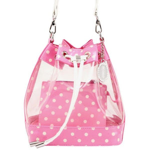SCORE! Clear Sarah Jean Designer Stadium Shoulder Crossbody Purse Polka Dot Boho Bucket Game Day Bag Tote - Pink and White Phi Mu